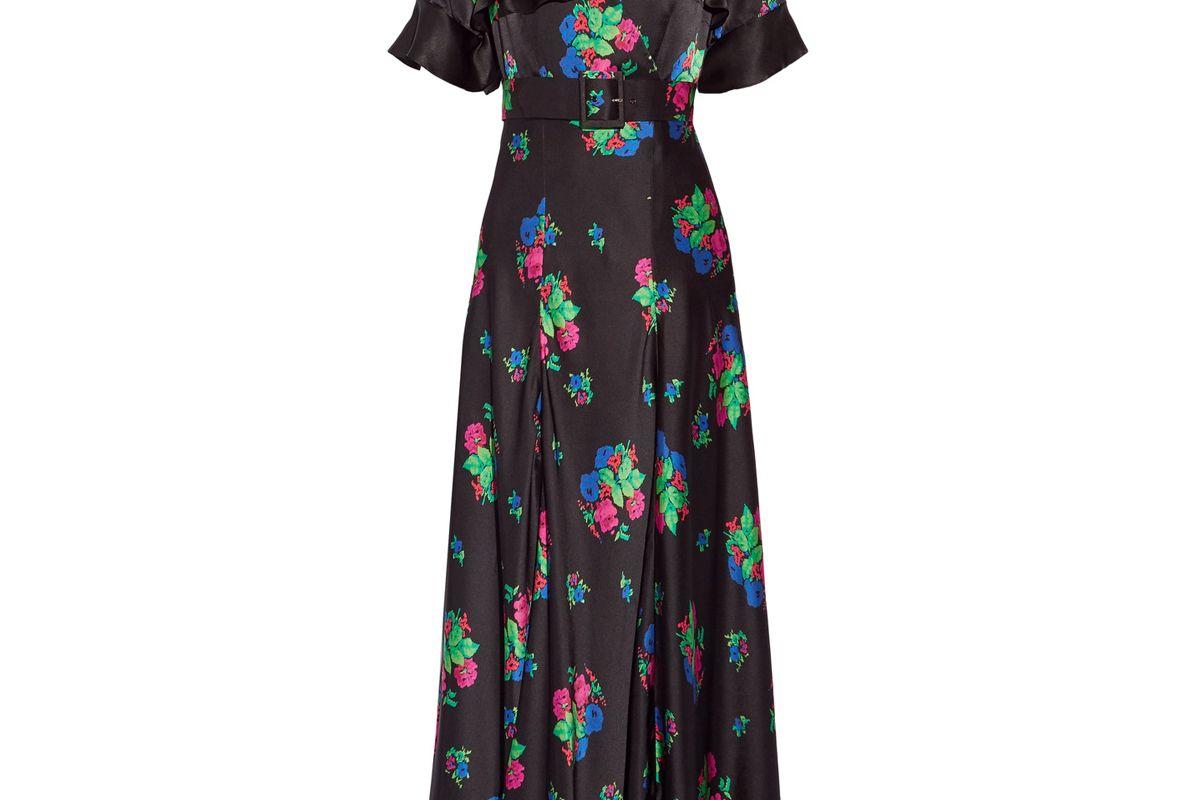 Wrap-Effect Floral-Print Silk-Satin Maxi Dress