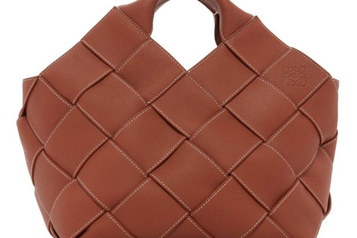 loewe woven leather basket top handle bag