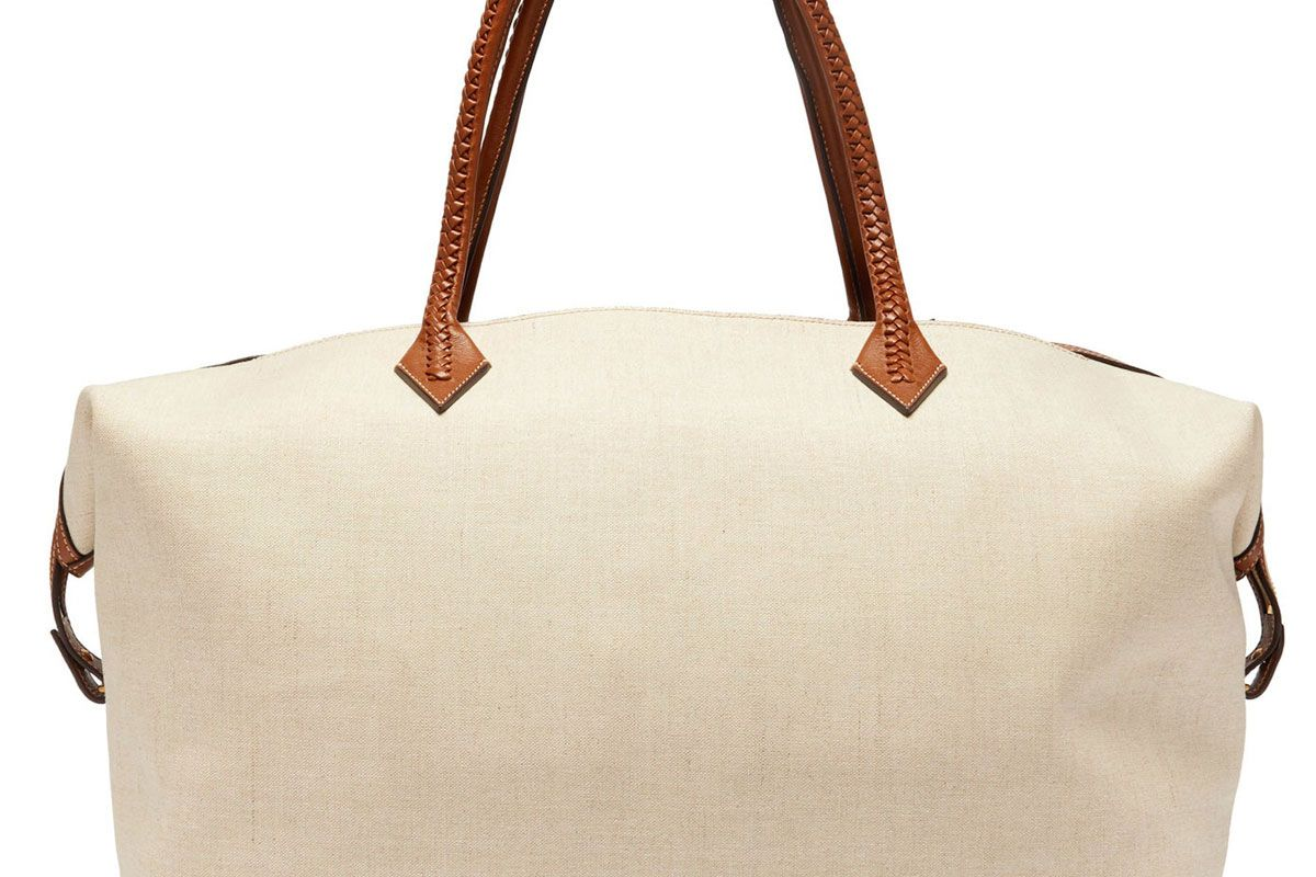 metier perriand large linen canvas weekend bag