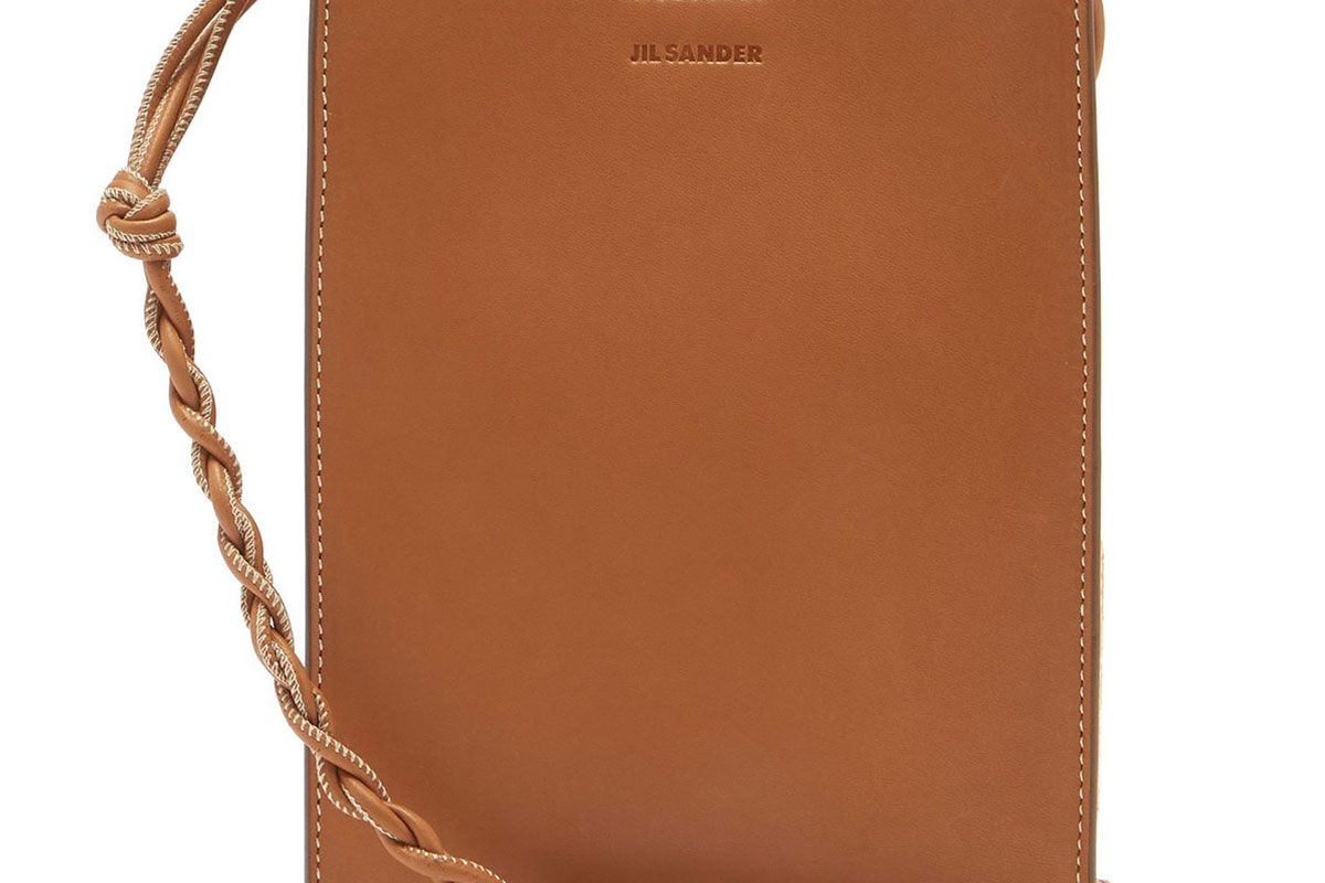 jil sander tangle small knotted strap leather cross body bag