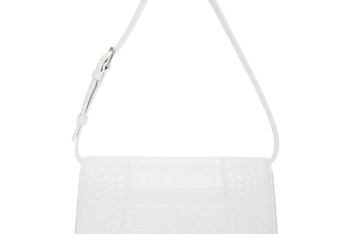 balenciaga white hourglass mock croc sling shoulder bag