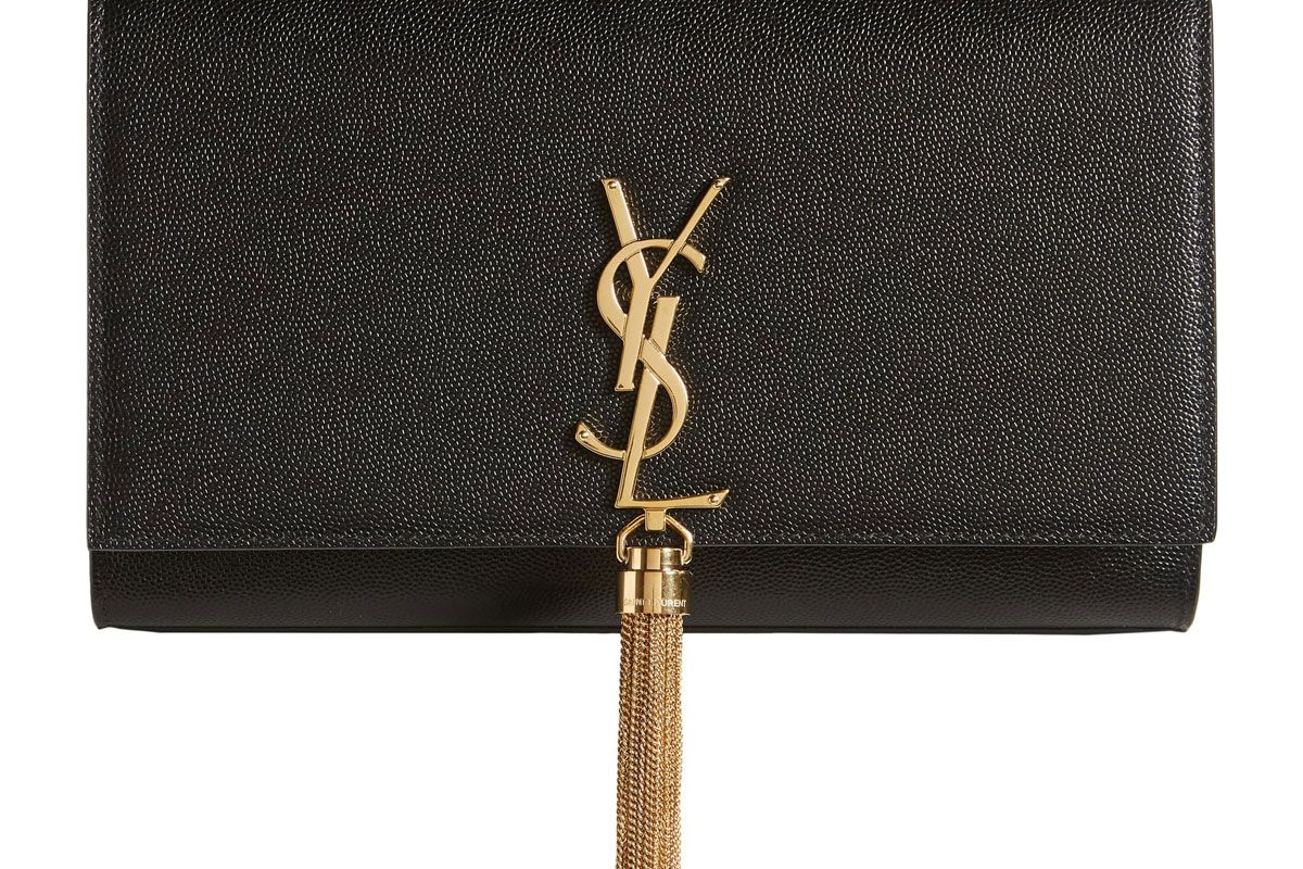 saint laurent medium kate leather wallet on a chain