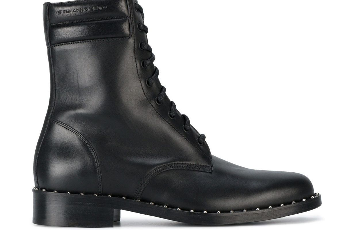 Leather Combat Studded Boots