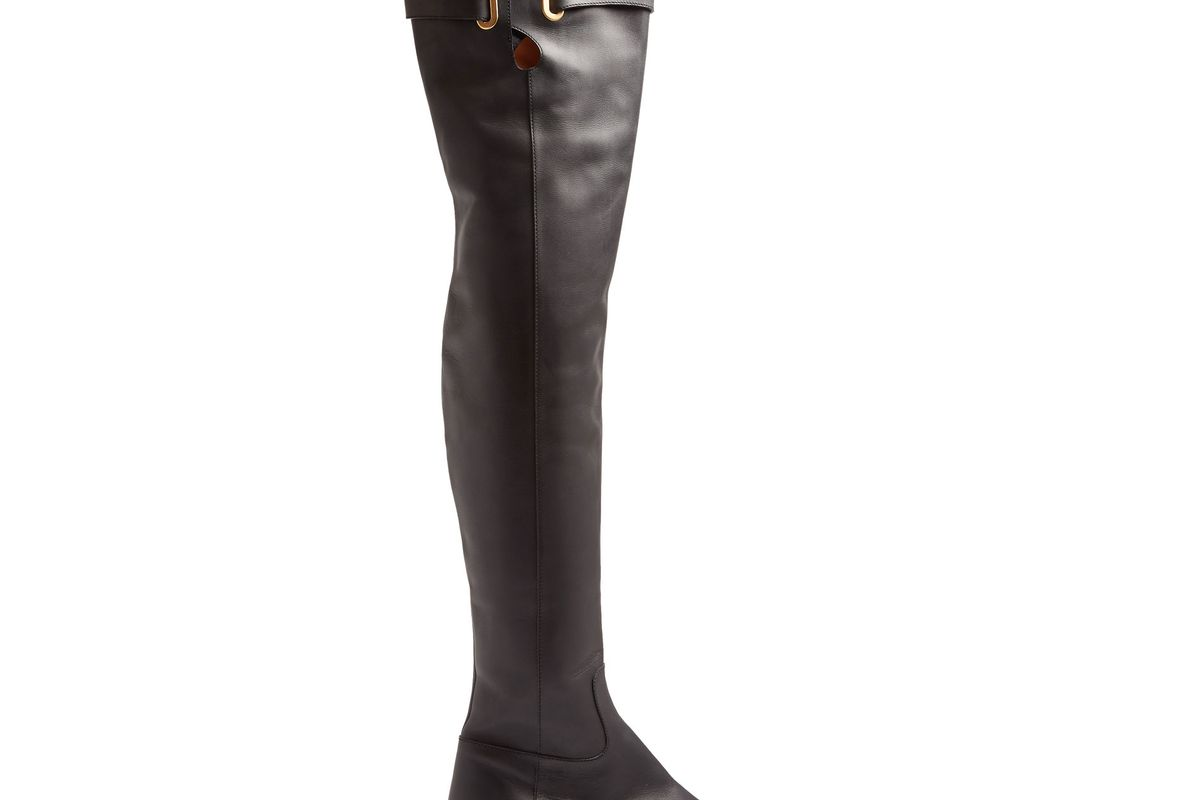 Bowrap over-the-knee leather boots