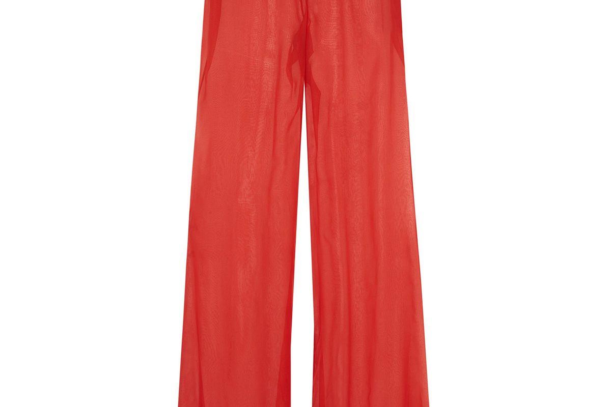 Silk-Georgette Wide-Leg Pants