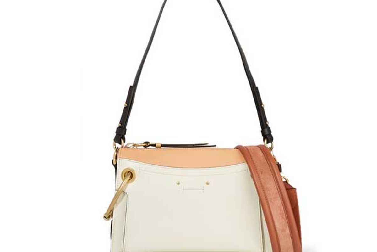 chloe roy day small leather and suede shoulder bag