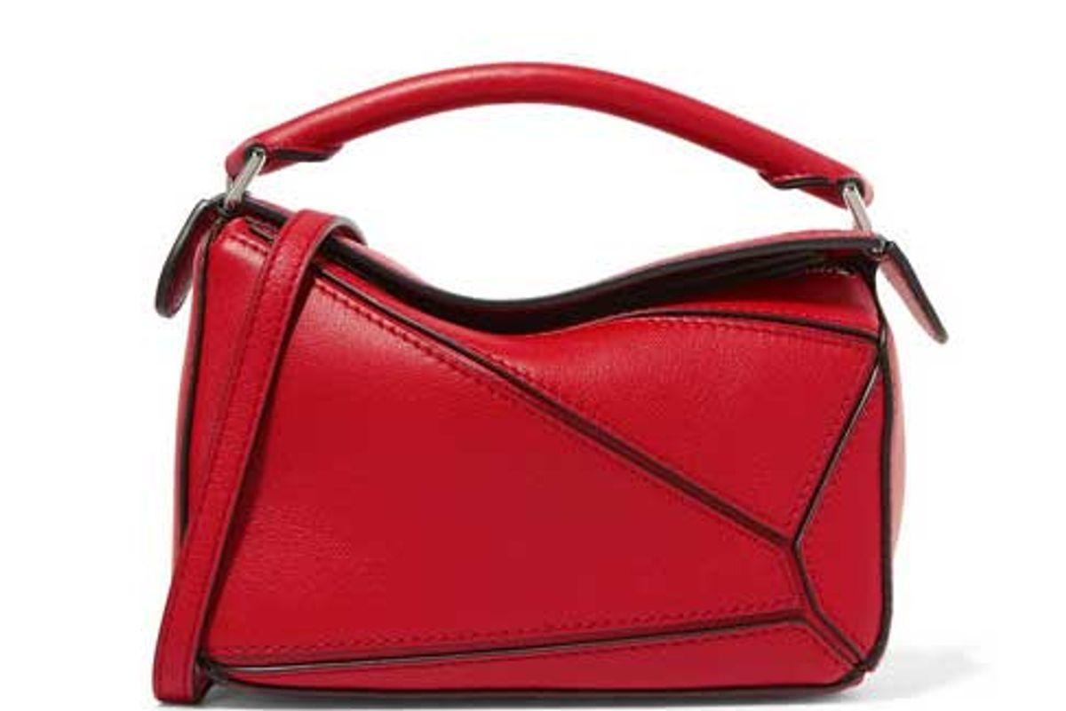 loewe puzzle mini textured leather shoulder bag