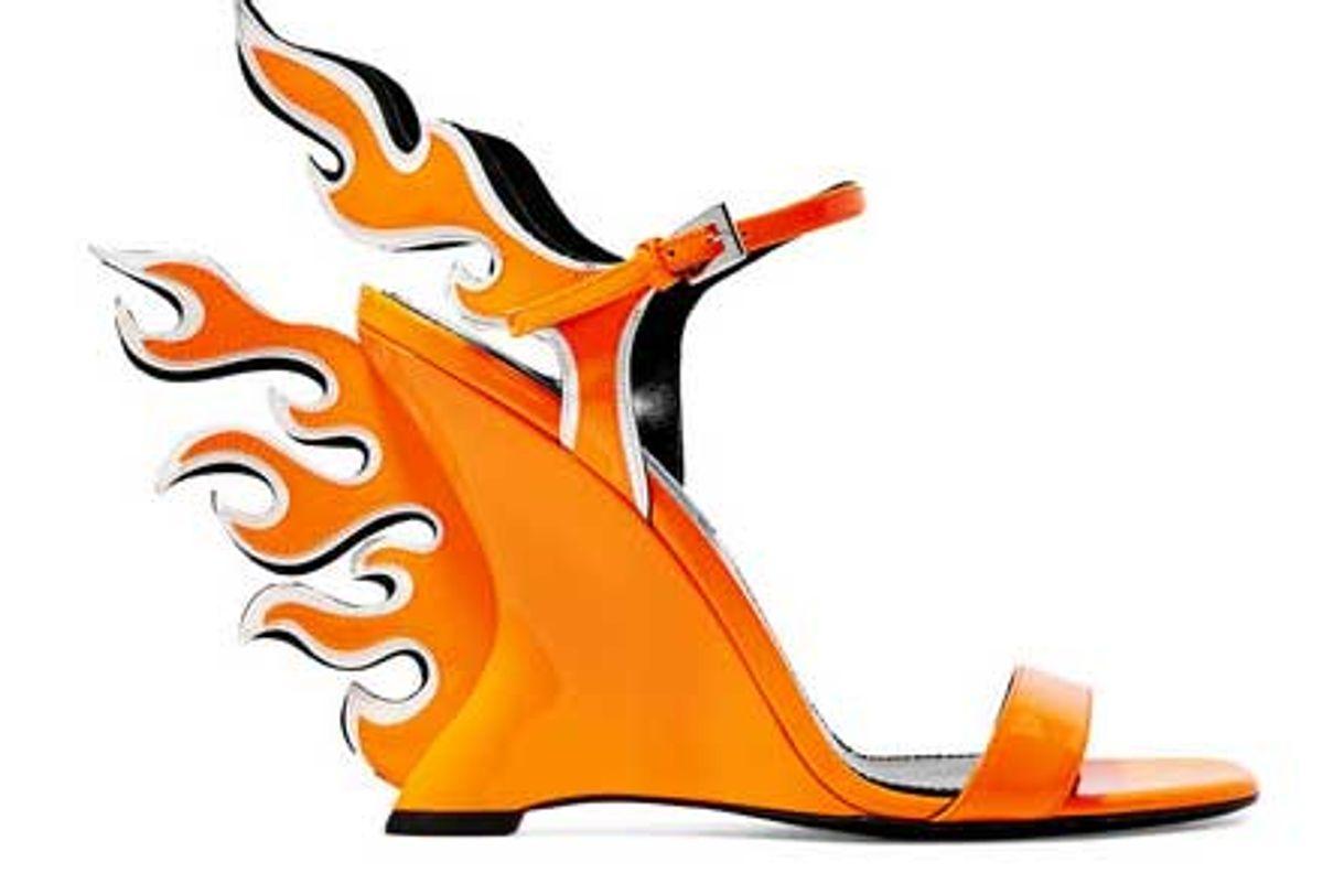 prada neon patent leather wedge sandals
