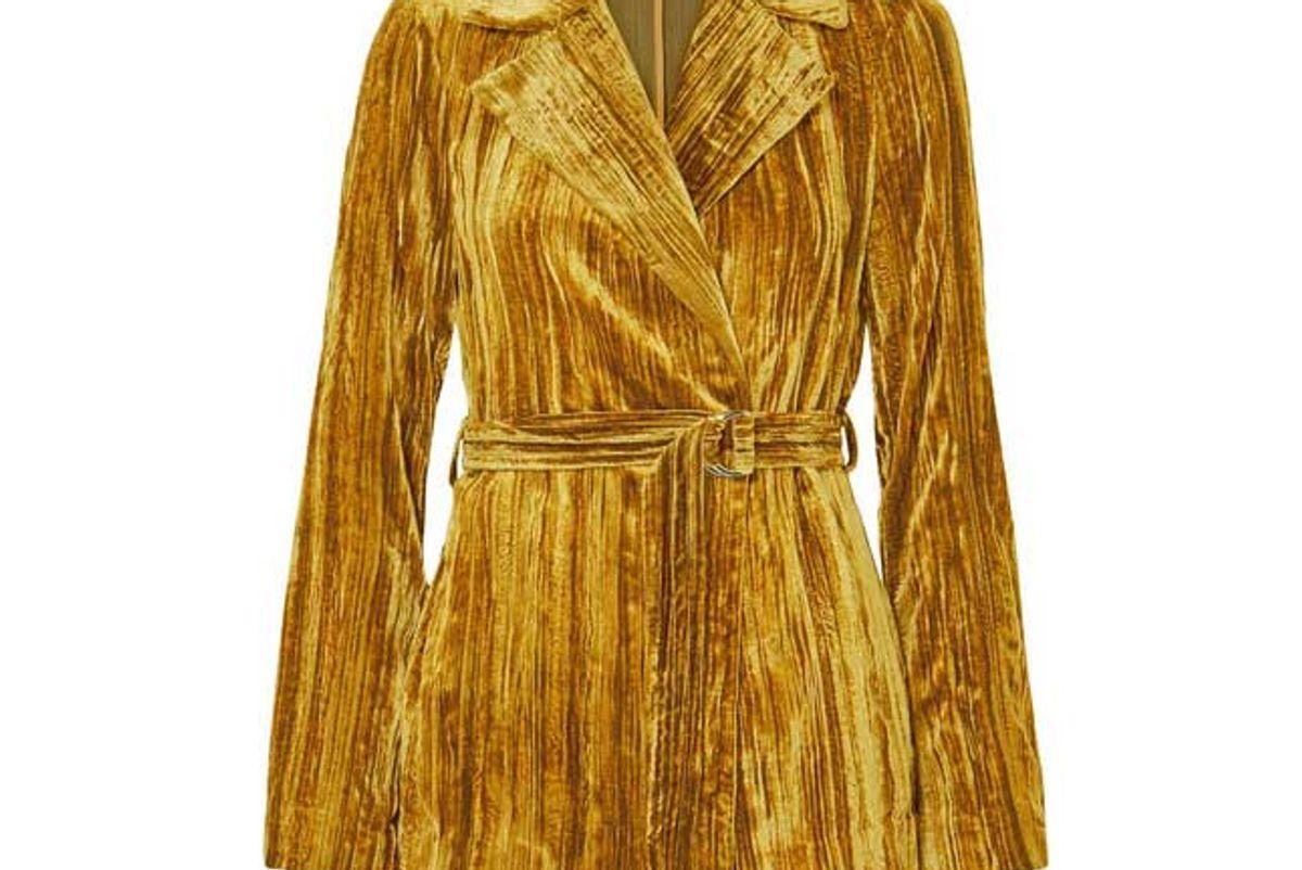 stine goya lora belted crushed velvet blazer