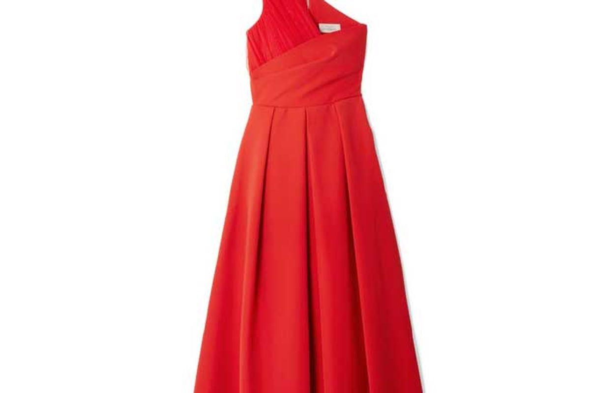 preen by thornton bregazzi one shoulder tulle trimmed stretch cady midi dress