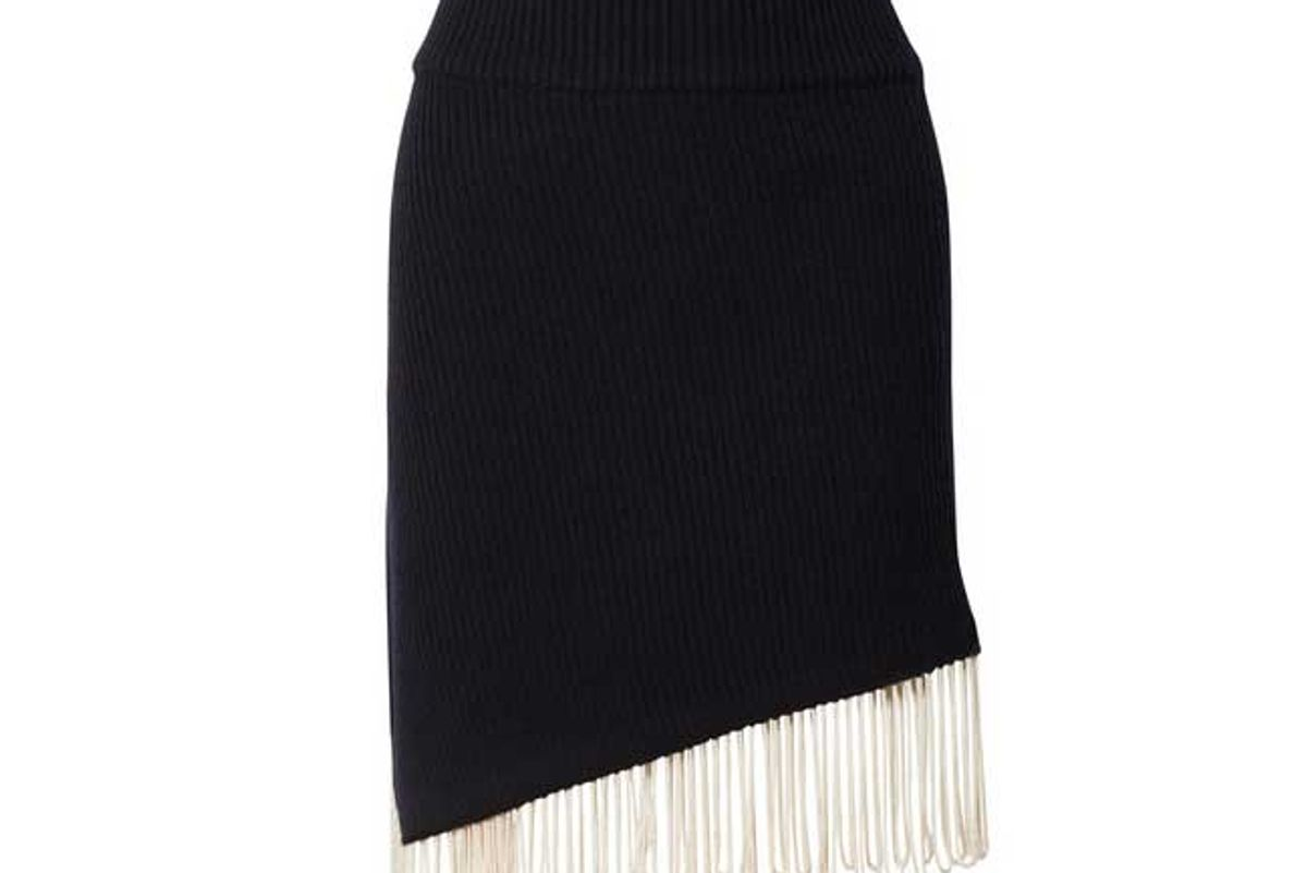 calvin klein 205w39 nyc asymmetric fringed ribbed knit skirt