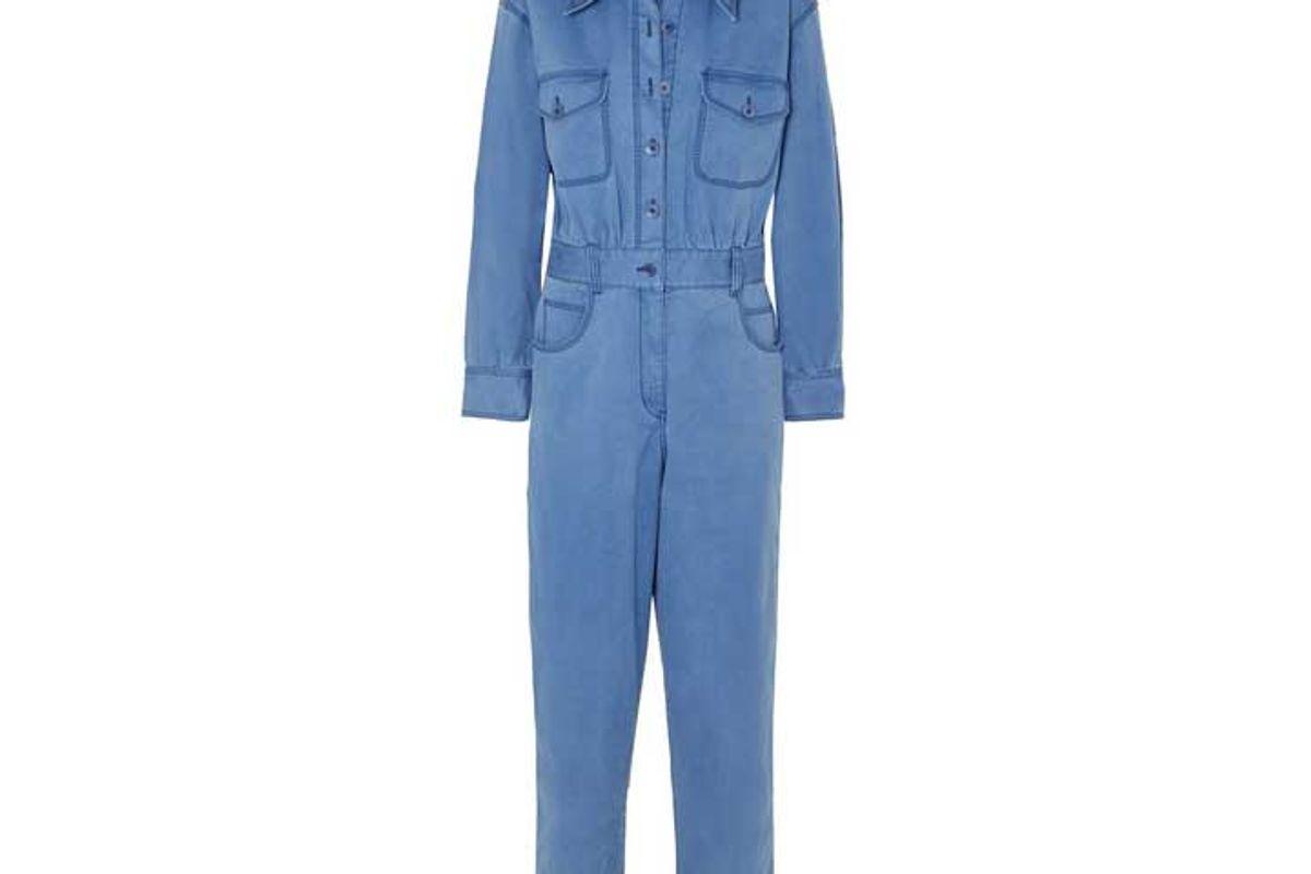tibi washed cotton blend twill jumpsuit