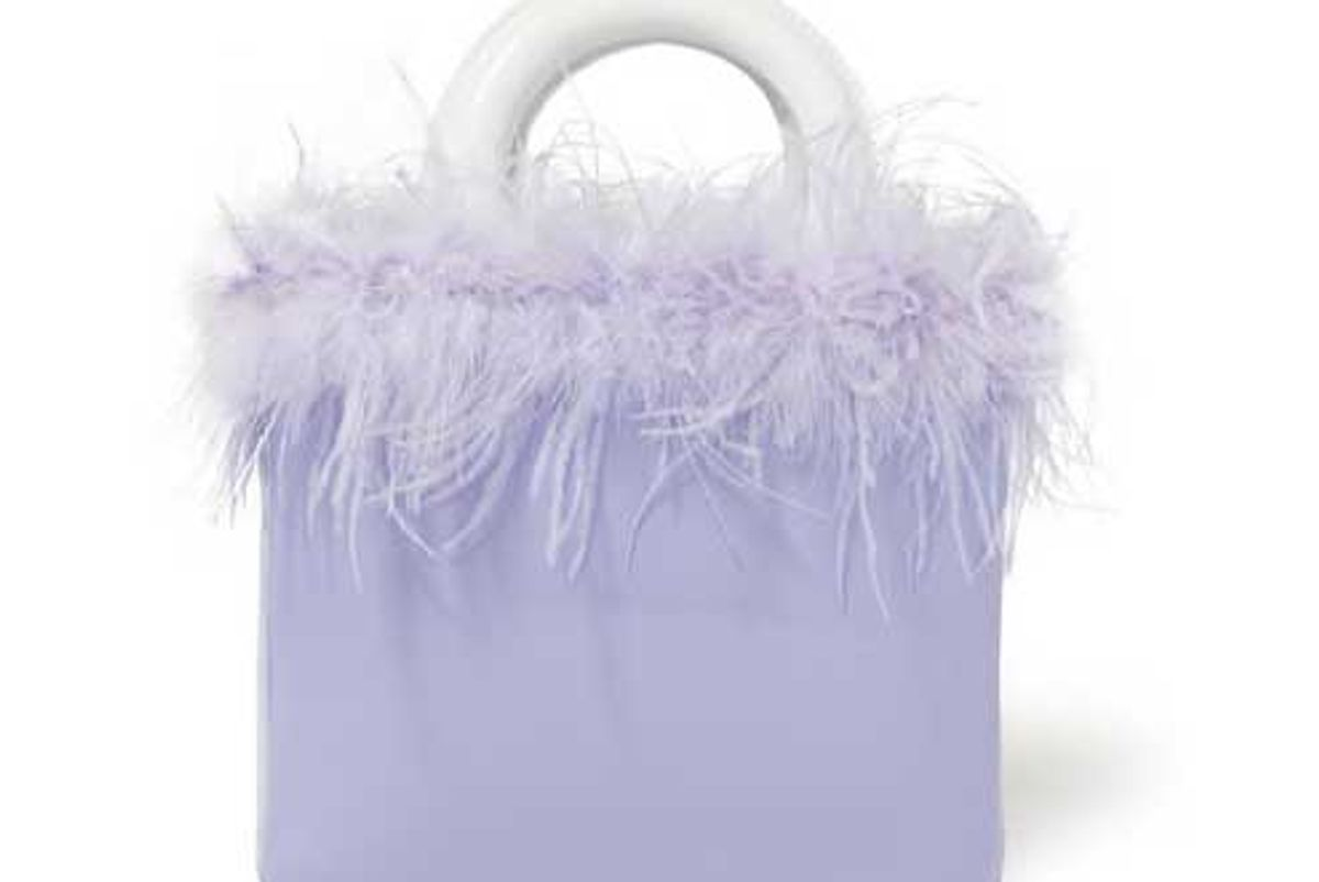 staud nic feather trimmed patent leather tote