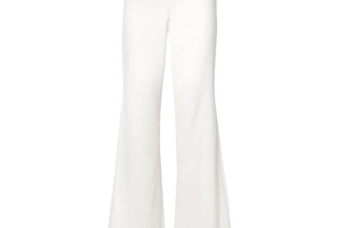 jonathan simkhai chiffon paneled stretch crepe flared pants