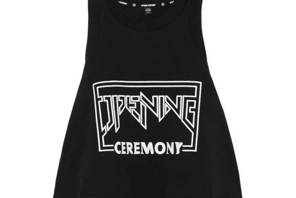 opening ceremony torch cropped printed cotton jersey tank