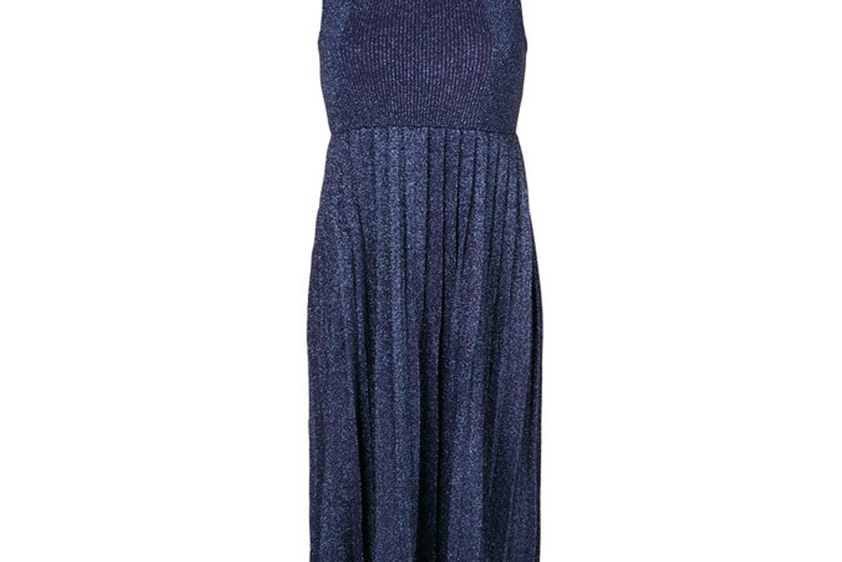 Pleated Metallic Sleeveless Dress