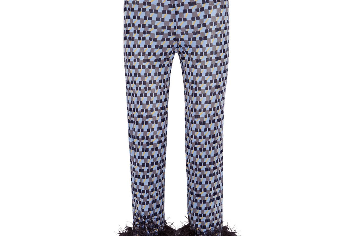 Feather-Trimmed Printed Crepe de Chine Straight-Leg Pants