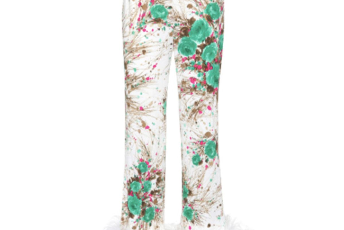 Feather-Trimmed Printed Silk Trousers