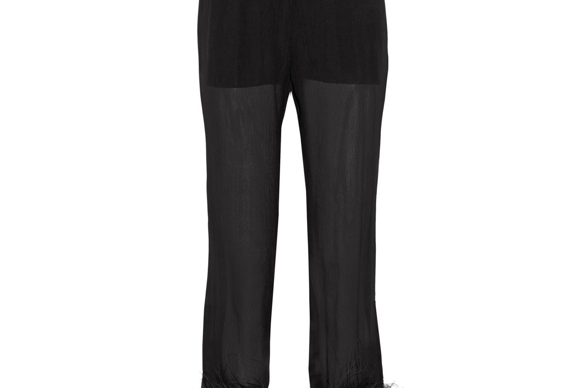 Feather-Trimmed Silk-Georgette Straight-Leg Pants