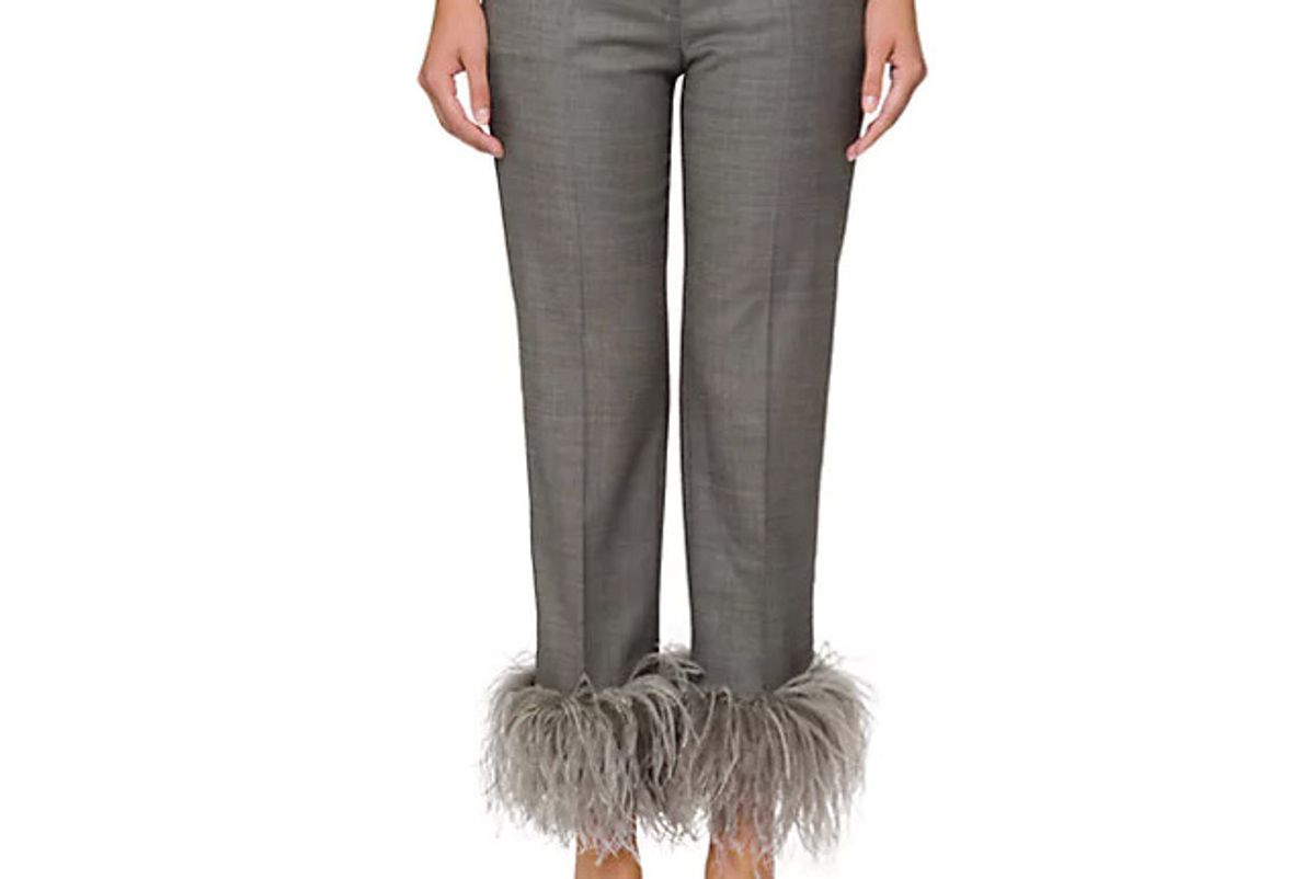 Feather-Embellished Wool-Blend Crop Trousers