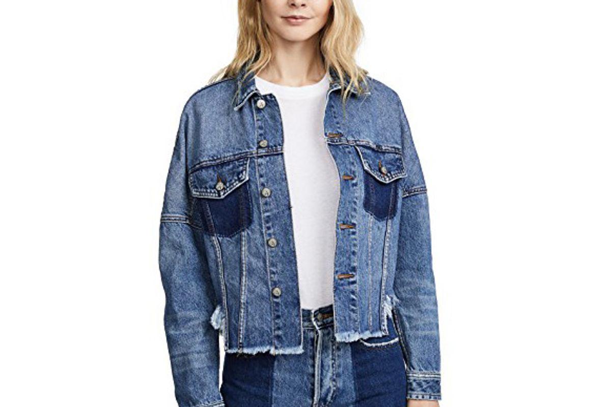 Drop Shoulder Denim Jacket with Self Fringe