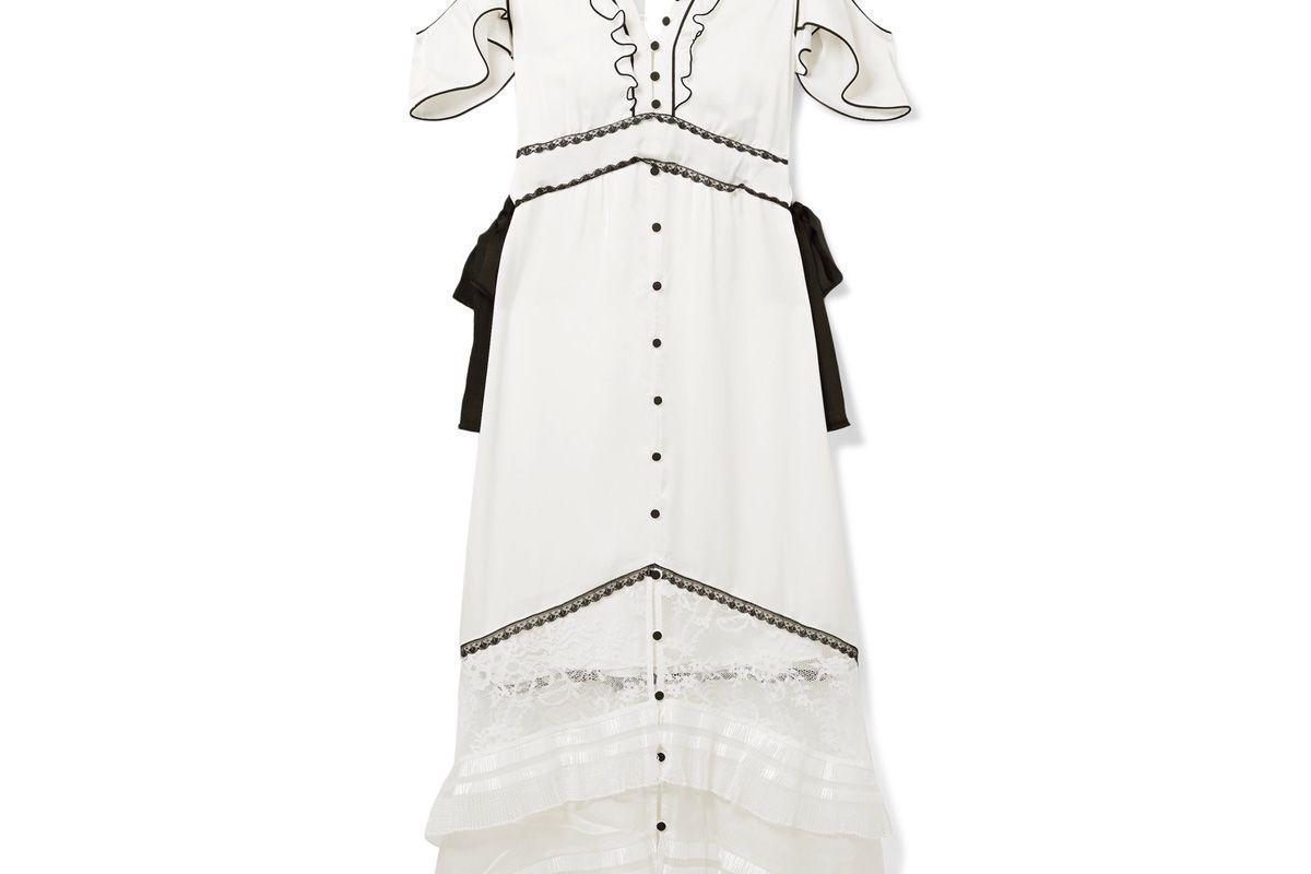 Cutout Lace-Paneled Satin Midi Dress