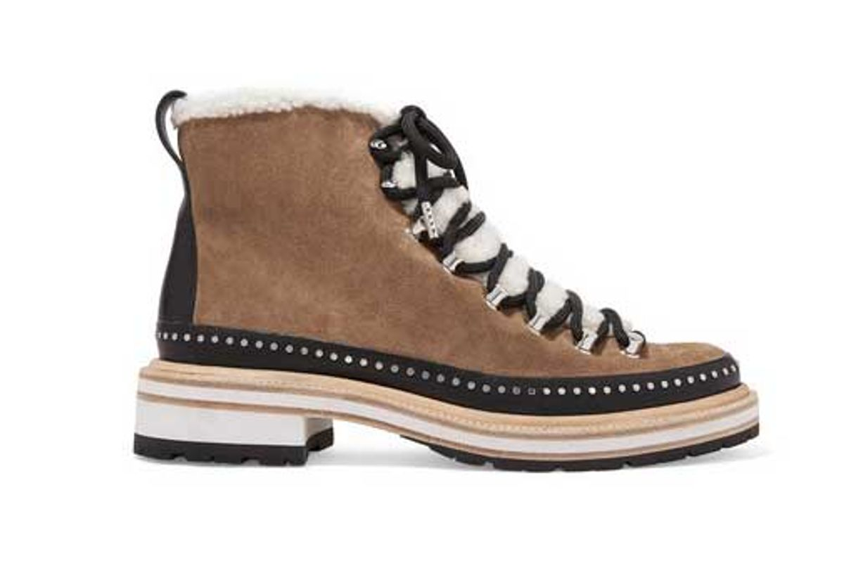 rag bone compass studded leather and shearling trimmed suede ankle boots