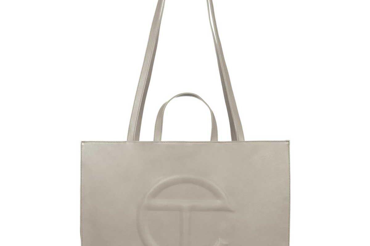telfar large grey shopping bag