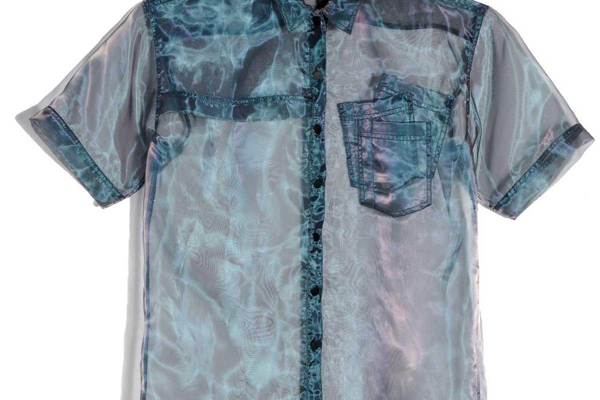 perfect number organza short sleeve oversized shirt grey crisp