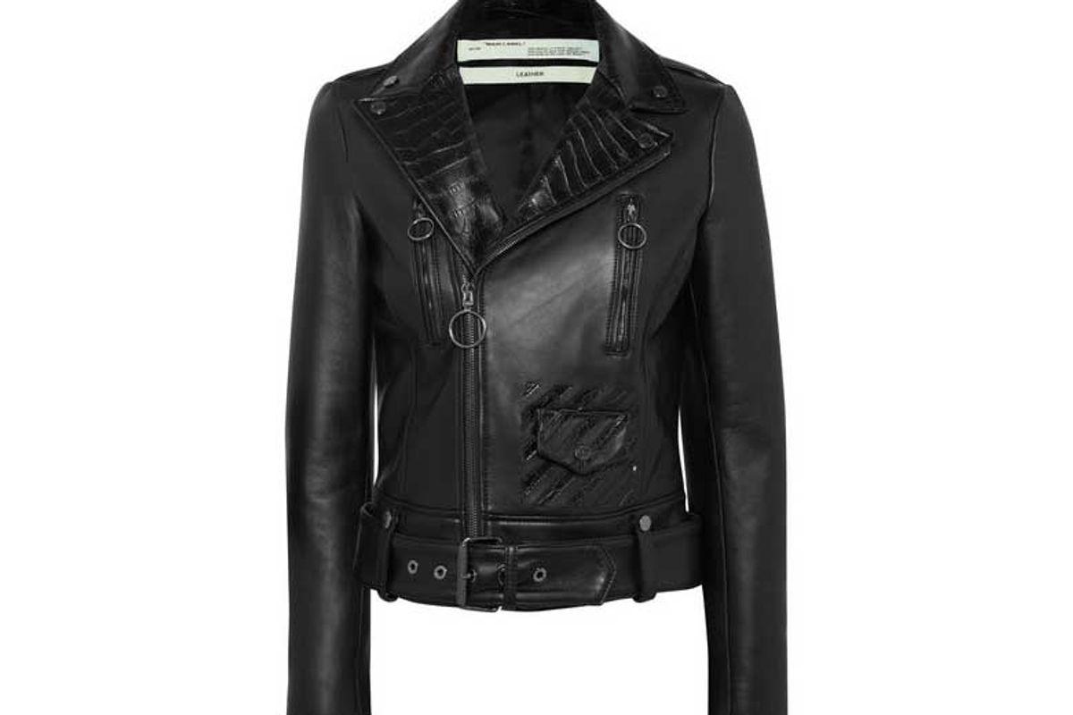 off white printed leather biker jacket