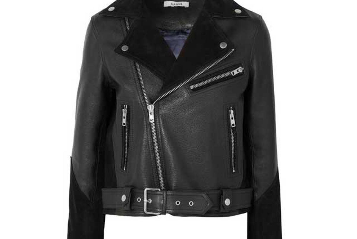 ganni lloyd suede paneled textured leather biker jacket
