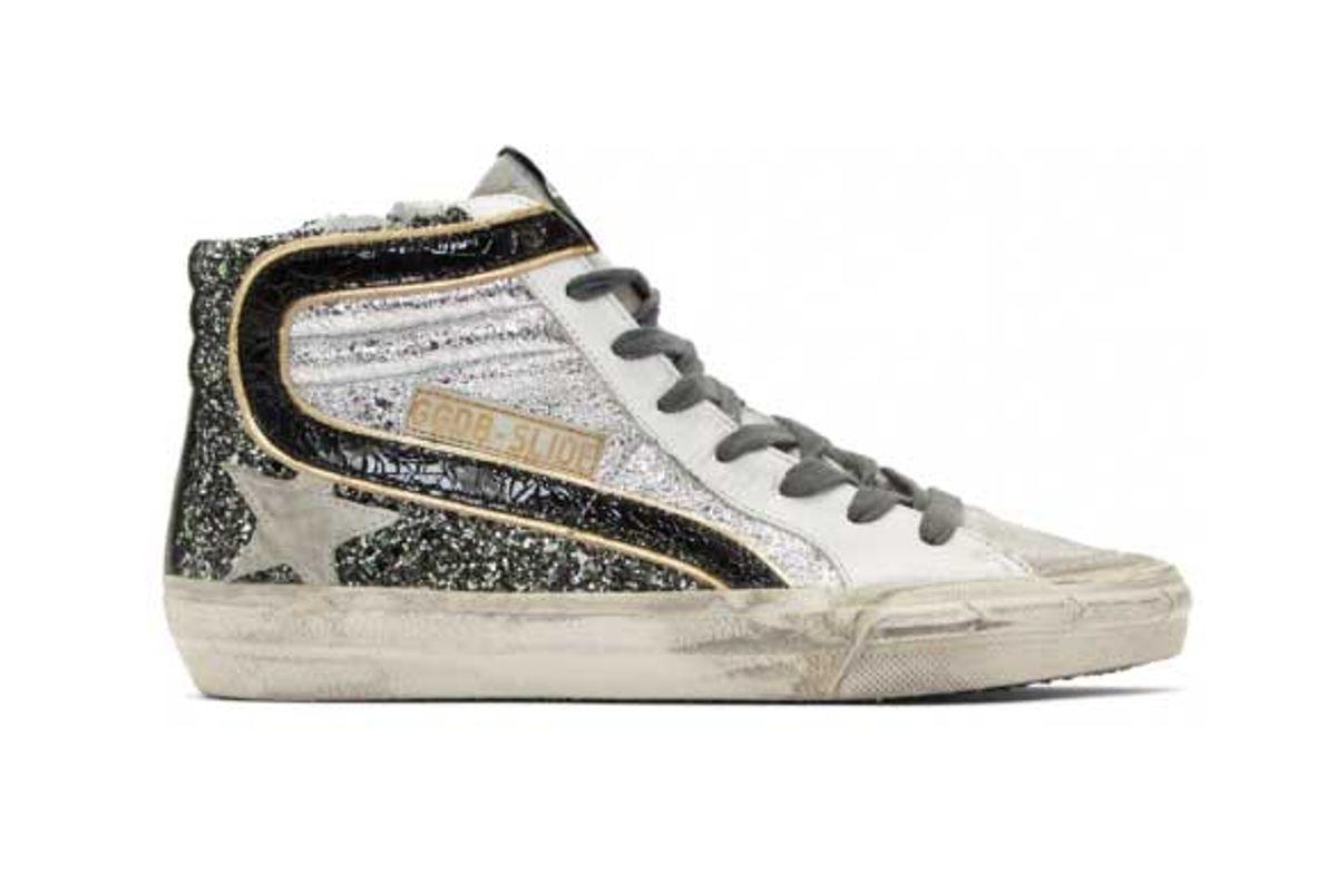 golden goose silver glitter slide high top sneakers