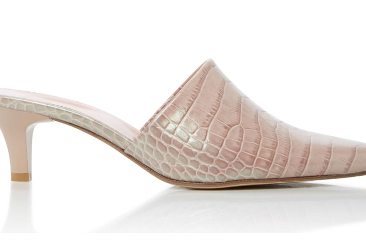 Andrea Croc-Effect Leather Mules