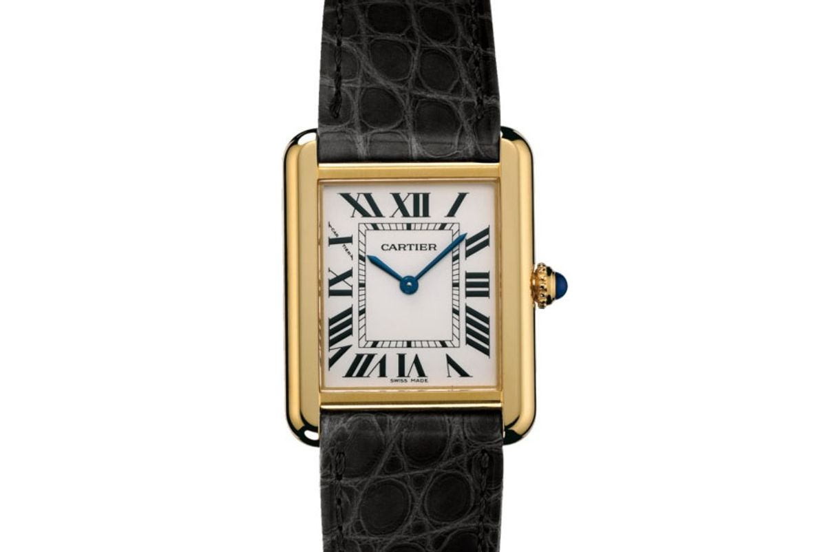 cartier tank solo watch yellow gold steel