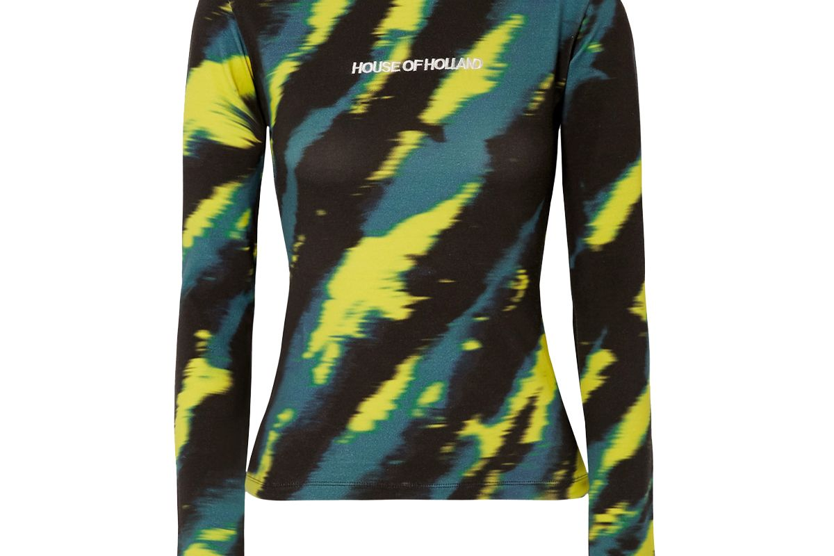 house of holland embroidered tie dyed stretch cotton jersey turtleneck top
