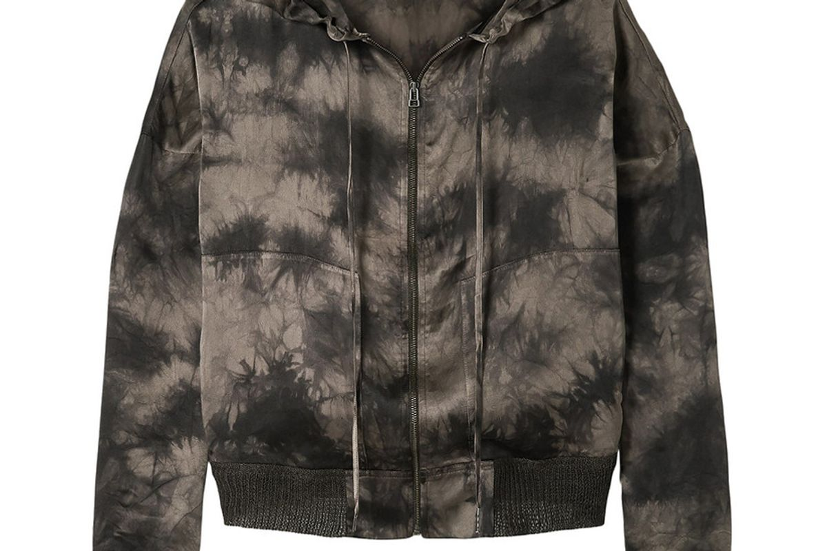 atm anthony thomas melillo taupe tie dyed silk charmeuse hoodie