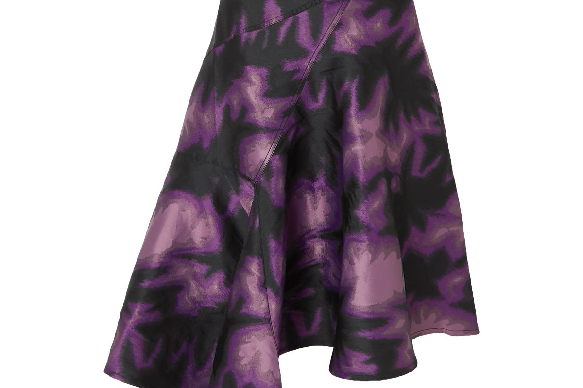 marques almeida asymmetric printed brocade wrap midi skirt