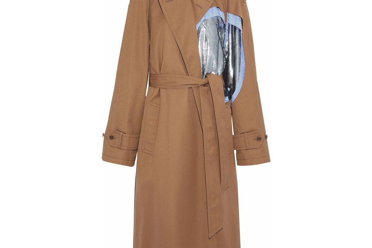 maison margiela lame and striped poplin paneled gabardine trench coat