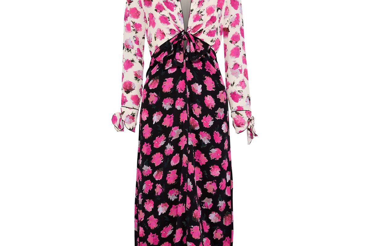 proenza schouler knotted two tone floral print silk midi dress