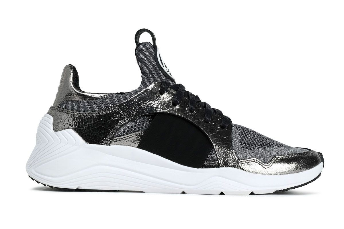 mcq alexander mcqueen metallic cracked leather trimmed stretch knit sneakers