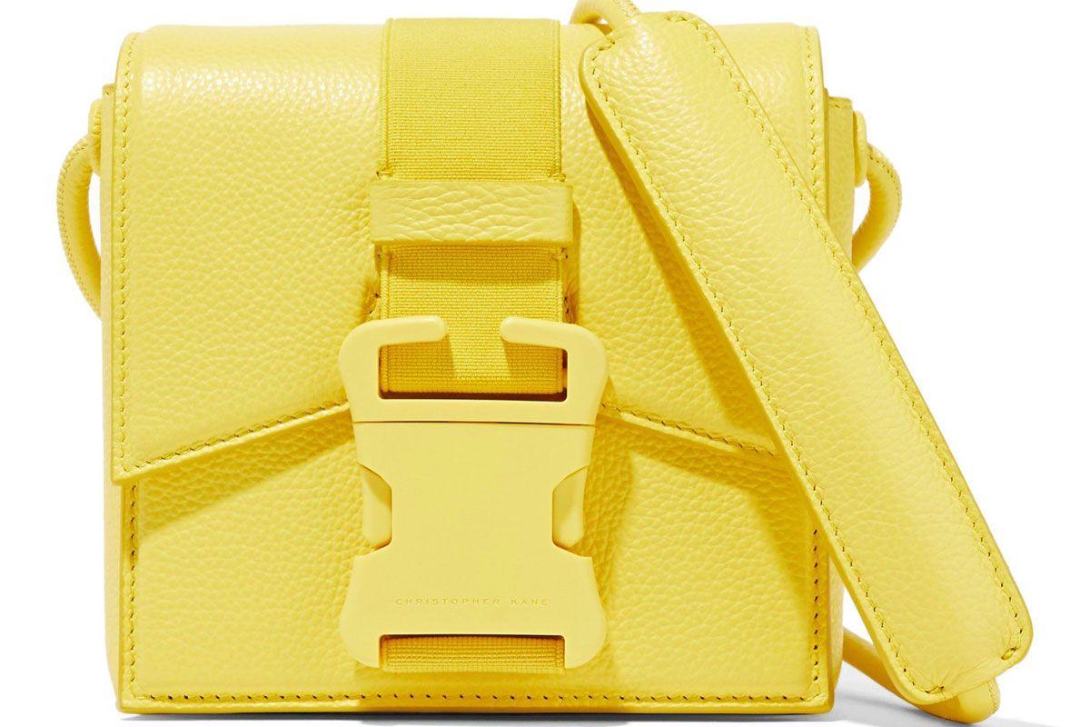christopher kane textured leather shoulder bag