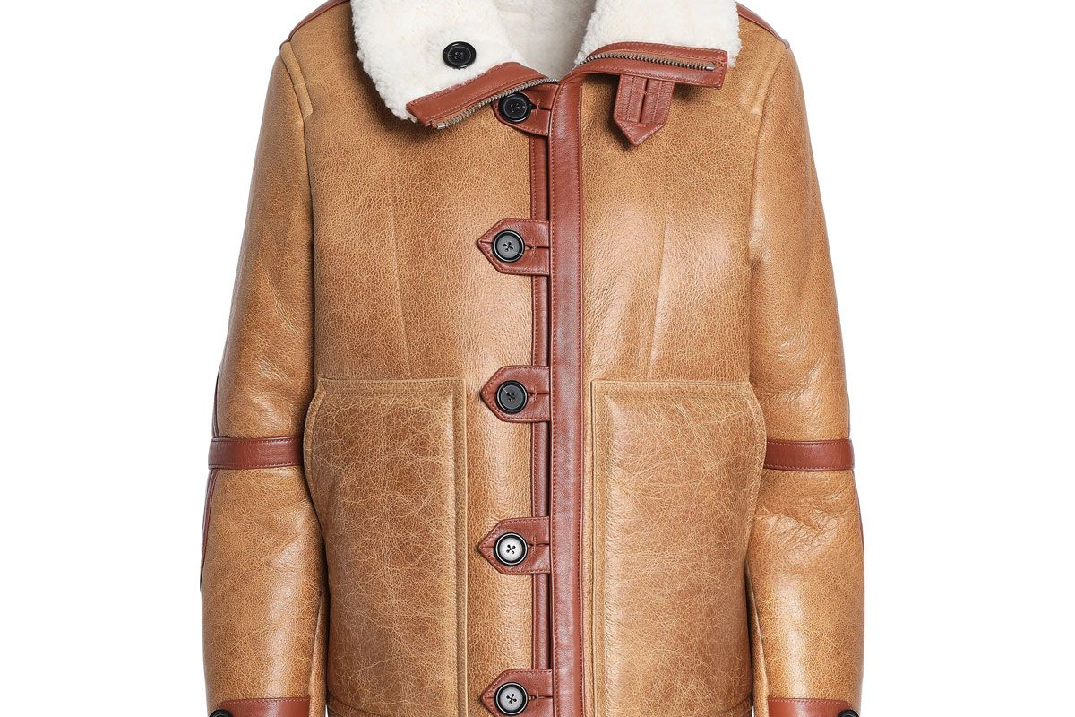 joseph reversible shearling trimmed cracked leather coat