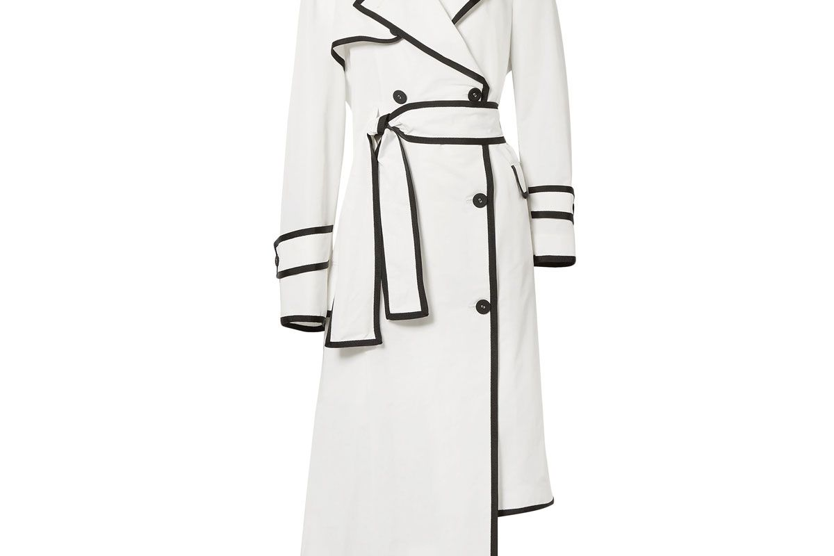 thom browne double breasted asymmetric shell trench coat