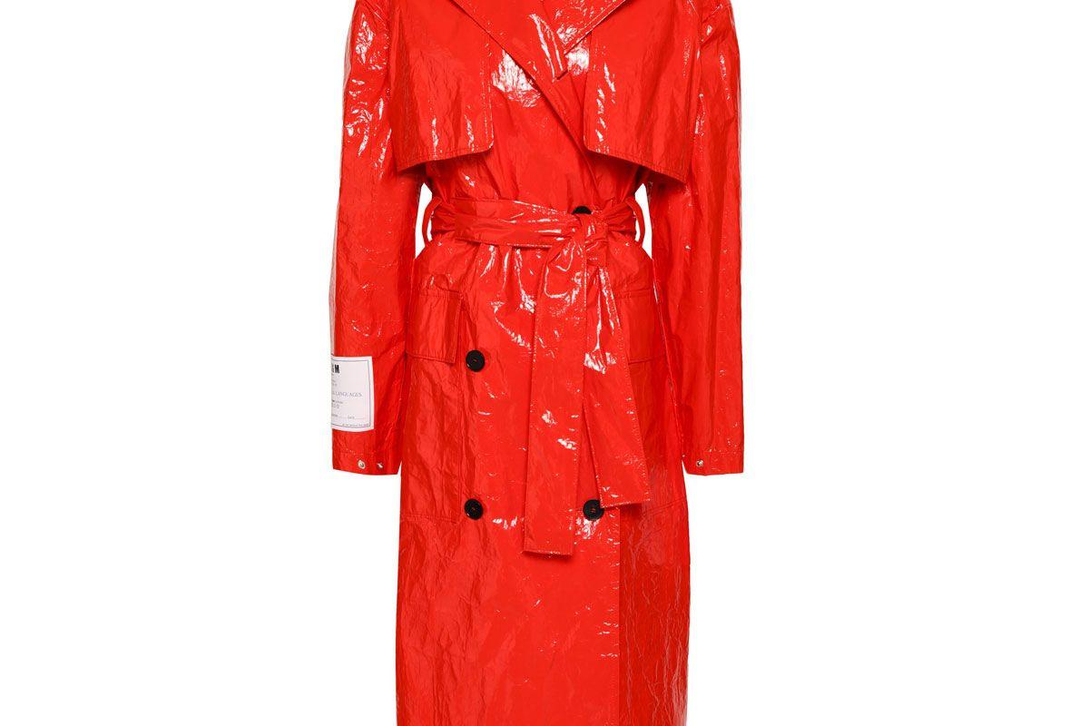 msgm crinkled vinyl trench coat