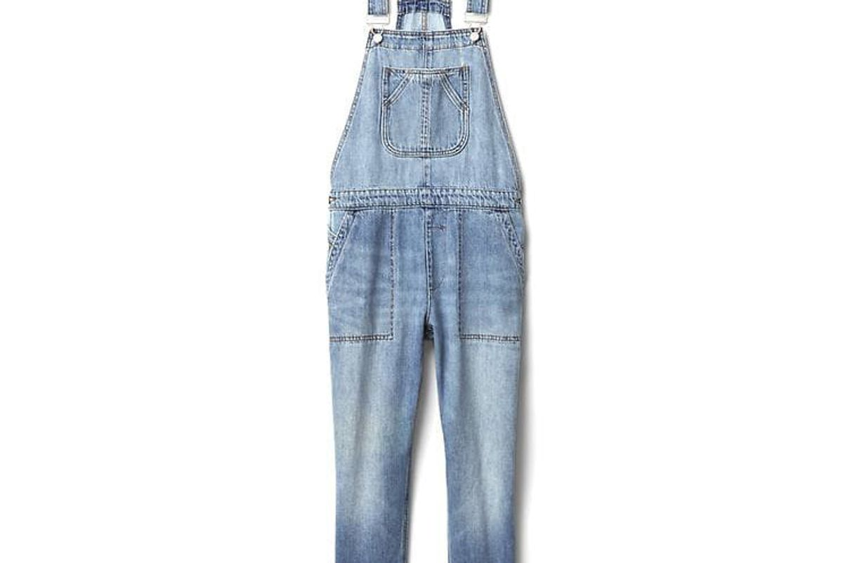 Slouchy Crop Denim Overalls