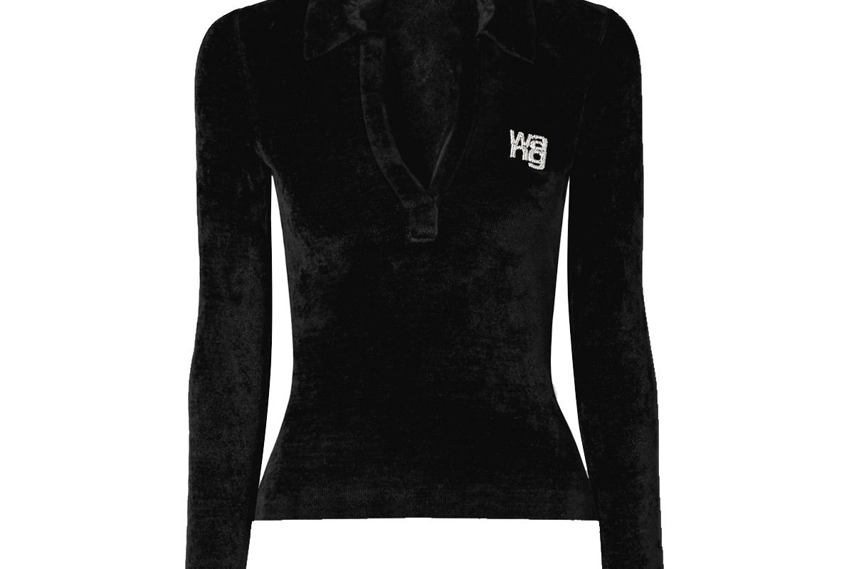 alexander wang crystal embellished chenille sweater
