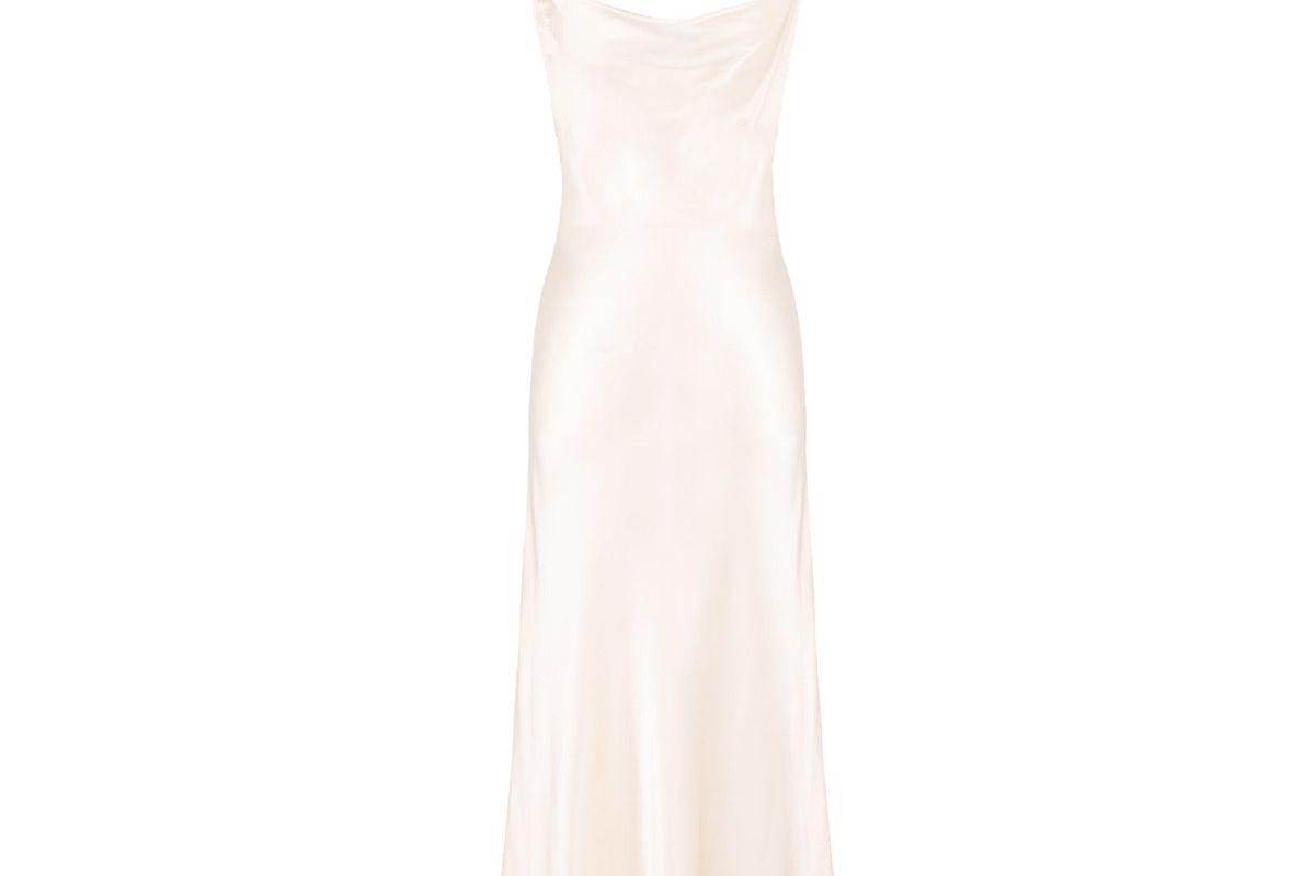 sleeper silk 90s style maxi slip dress in pearl white