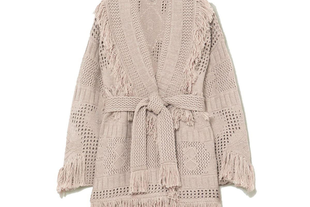 alanui belted fringed open knit wool cardigan