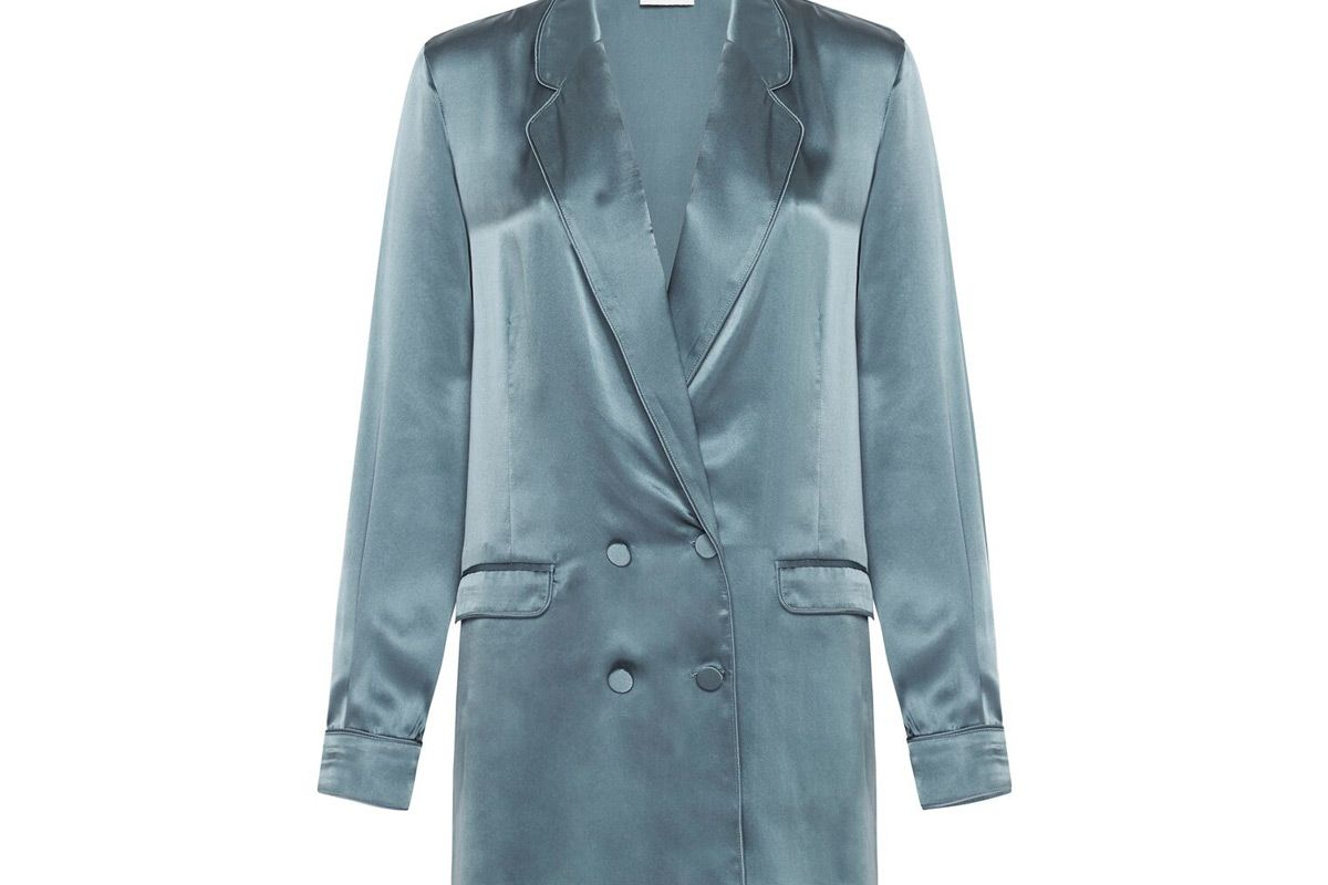 silk laundry relaxed blazer pacific blue
