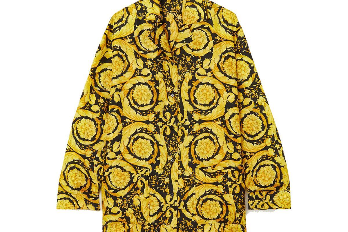 versace printed silk pajama shirt